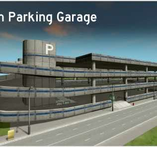 Medium Parking Garage / Multi-storey Car Park Mod for Cities Skylines