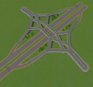 Timboh's Diverging Diamond Interchange Mod for Cities Skylines