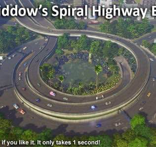 blackwiddow's Spiral Highway Exit Mod for Cities Skylines