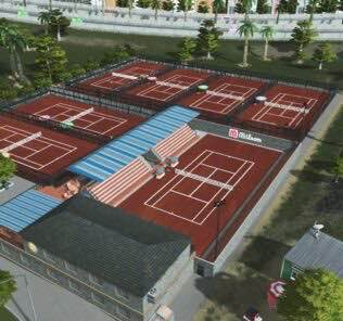Large Tennis Club (clay version) Mod for Cities Skylines
