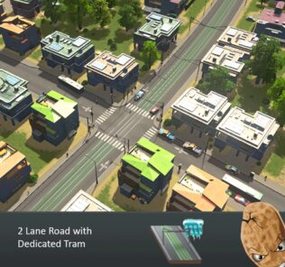 2 Lane Road with Dedicated Tram Mod for Cities Skylines