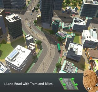 4 Lane Road with Trams and Bikes Mod for Cities Skylines